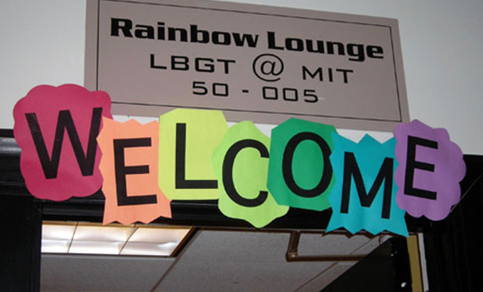A rainbow welcome sign