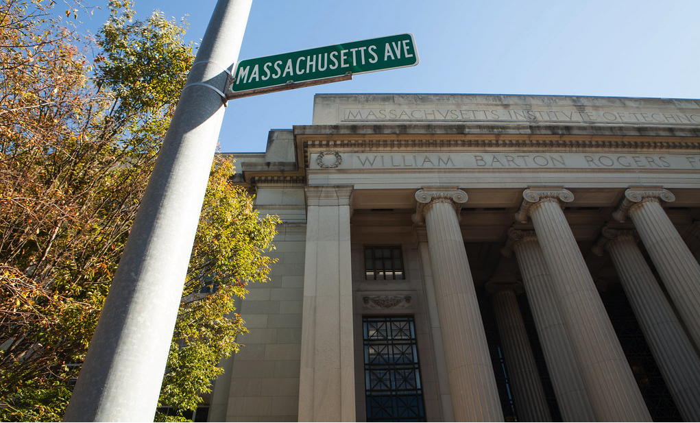 The entrance to MIT with a street sign of Massachusetts avenue